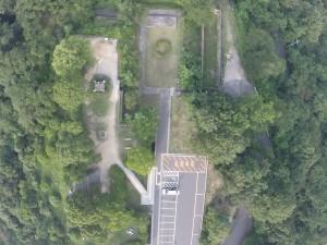高烏台公園の上空より砲台跡を空撮